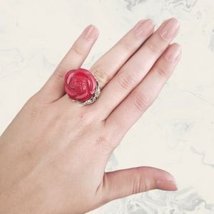 Red Resin Flower Rose Silver Tone Band Ring Size 9